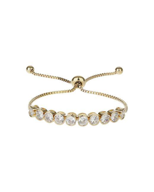 Mikey - White Round Cubi Stone Link Self Tie Bracelet - Lyst