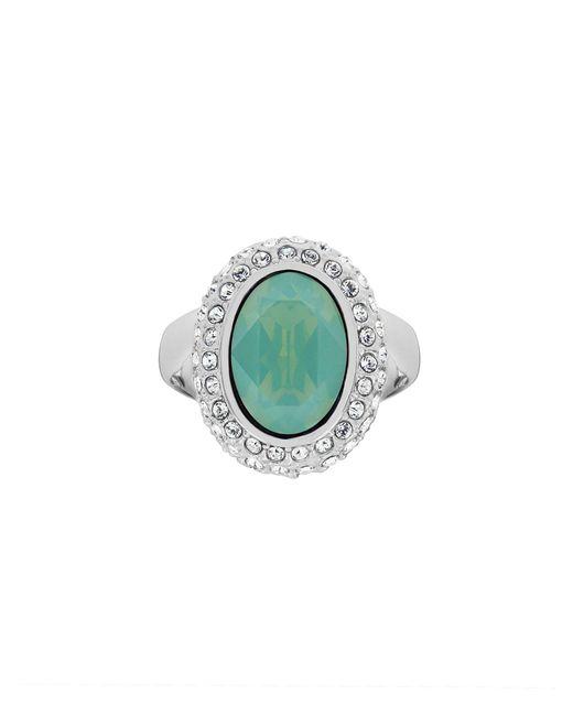 Aurora Flash | Green Rhodium Plated Crystal Cocktail Ring | Lyst