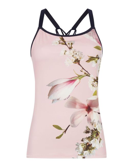 Ted Baker - Pink Harmony Floral Strappy Sports Top - Lyst