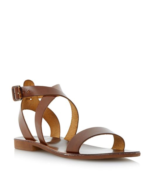 Dune - Brown Lotti Slotted Flat Sandals - Lyst