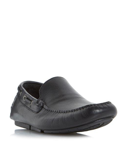 Bertie | Black Blue Sky Plain Leather Driver Shoe for Men | Lyst