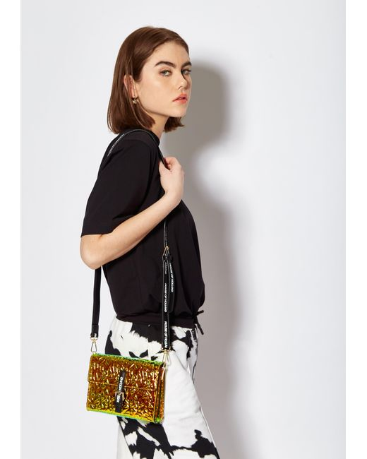 House of Holland Multicolor Cross Body Bag With Logo Straps In Gold Iridescent