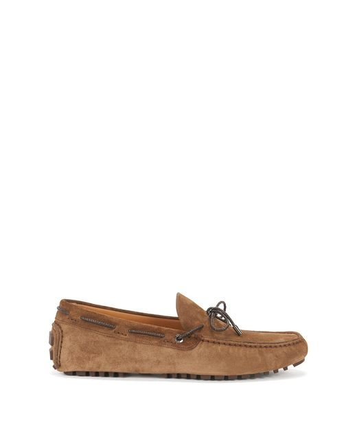 BOSS - Brown Suede Driver Loafer | Driver Mocc for Men - Lyst