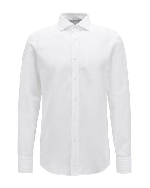 BOSS - White Slim-fit Shirt In Italian Cotton With Pleated Panel for Men - Lyst