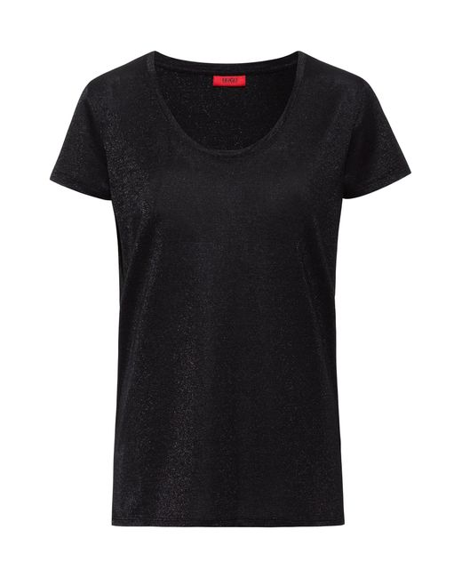HUGO Black Sparkly T-shirt With Scoop Neckline