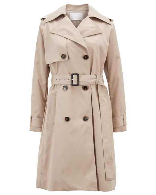 BOSS Natural Double-breasted Trench Coat With Oversized Lapels
