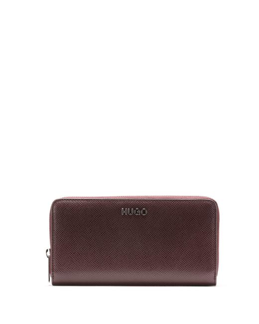 HUGO Red Zip-around Wallet In Saffiano Leather With Logo Hardware