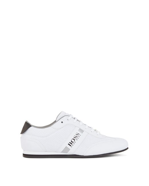 BOSS by Hugo Boss White Lace-up Trainers With Mesh Detail for men