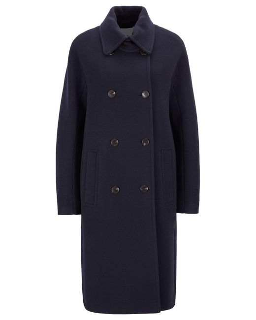 BOSS Blue Double-breasted Coat In A Felted Wool Blend With Cashmere