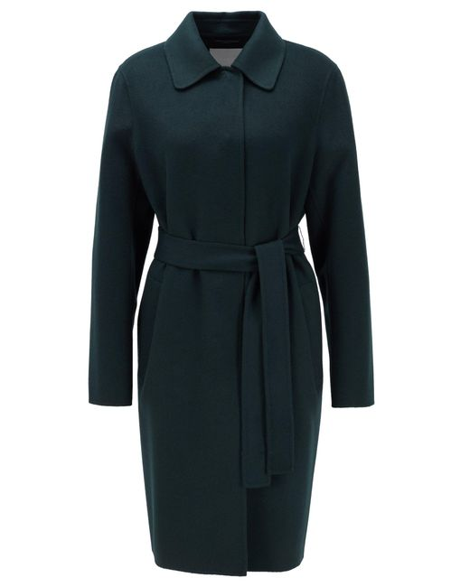 BOSS by Hugo Boss Green Relaxed-fit Coat In Hand-stitched Fabrics