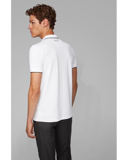 New Mens Short Sleeve Polo Shirt Slim Fit Navy White Paint Black Accents Cotton