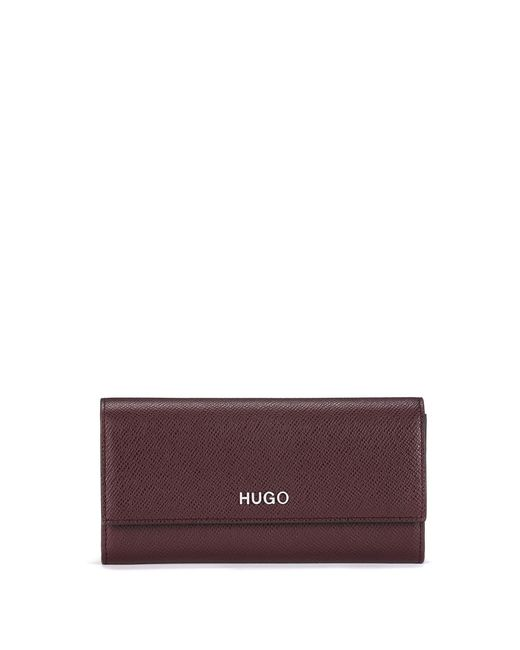 HUGO Red Continental Wallet In Saffiano Calf Leather With Logo Hardware