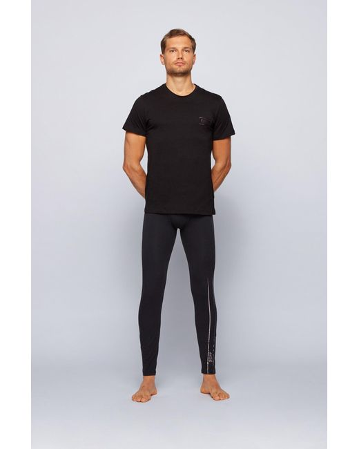 BOSS by Hugo Boss Black Stretch-cotton Long Johns With Logo Waistband for men