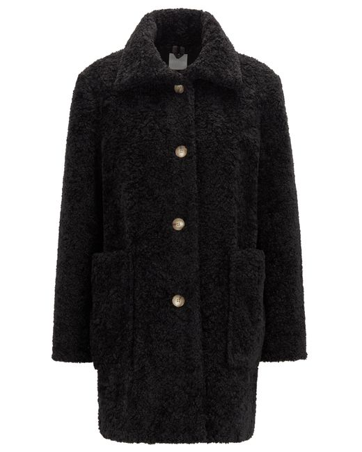 BOSS Black Regular-fit Teddy Coat With Stand Collar