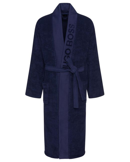 BOSS by Hugo Boss Blue Unisex Dressing Gown In Egyptian Cotton