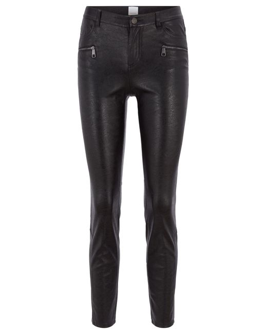 BOSS by Hugo Boss - Black Slim-fit Trousers In Faux Leather With Zip Details - Lyst