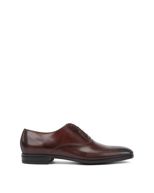 BOSS Red Oxford Shoes In Burnished Leather With Laser-cut Panels for men