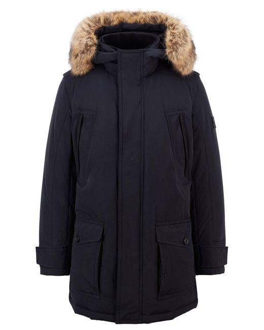 Manteau doudoune déperlant à finition amovible en fourrure synthétique BOSS by Hugo Boss pour homme en coloris Black