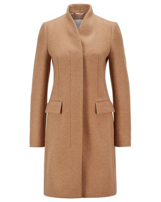 Manteau élégant en laine mélangée chinée BOSS by Hugo Boss en coloris Brown