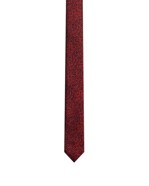 HUGO | Red Patterned Tie In Silk Jacquard for Men | Lyst