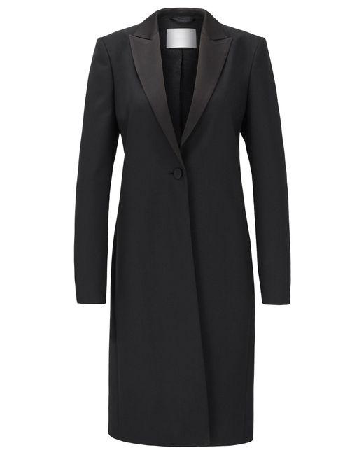BOSS Black Tuxedo-style Coat In Italian Virgin-wool Twill