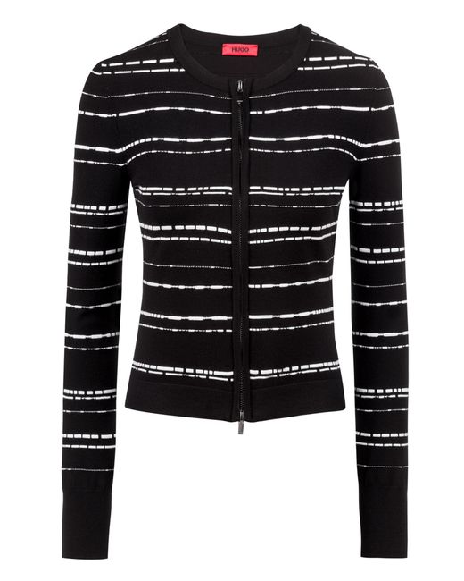 HUGO - Black Slim-fit Knitted Jacket In Striped Stretch Fabric - Lyst