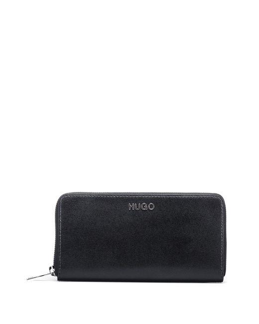 HUGO Black Zip-around Wallet In Printed Italian Leather