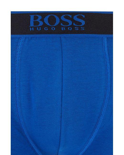 Boxer long en coton stretch à logo imprimé vertical BOSS by Hugo Boss pour homme en coloris Blue