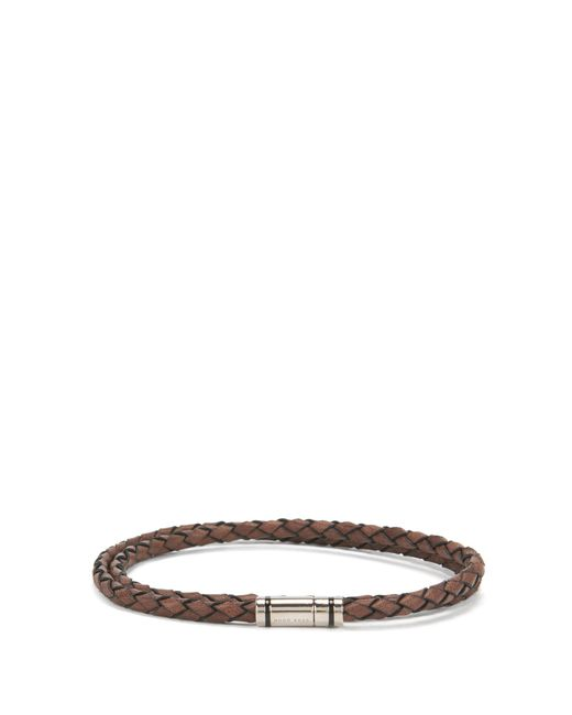 BOSS - Brown Braided Leather Bracelet With Enamel-stripe Snap Closure for Men - Lyst