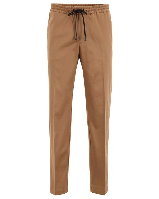 BOSS Natural Slim-fit Trousers With Drawcord In Stretch Gabardine for men