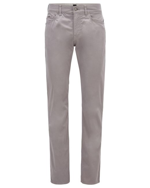 BOSS Metallic Slim-fit Jeans In Satin-stretch Denim With Monogram Lining for men