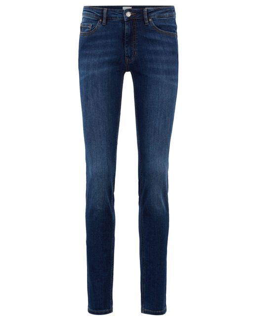 BOSS Blue Slim-fit Jeans In Super-stretch Used-effect Denim