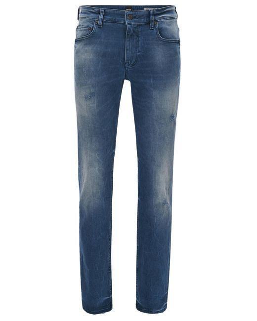 BOSS - Blue Slim-fit Jeans In Distressed Indigo Stretch Denim for Men - Lyst
