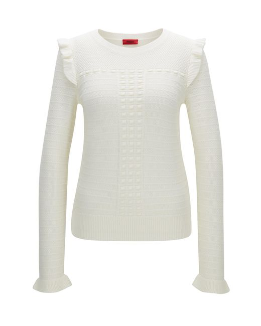HUGO   Natural Structured Sweater In Merino Wool With Ruffle Detail   Lyst