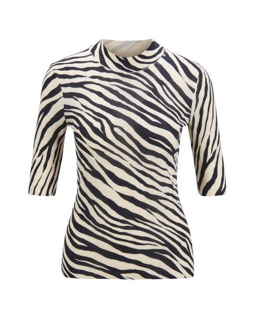 BOSS by Hugo Boss Black Slim-fit Sweater In Virgin Wool With Zebra Print
