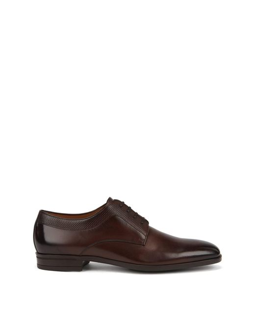 BOSS Brown Italian-made Derby Shoes In Leather With Monogram Eming for men