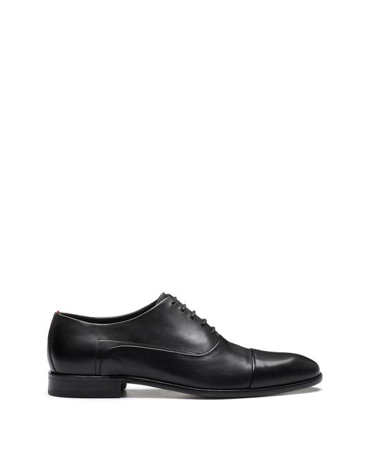 HUGO - Black Oxford Shoes In Smooth Calf Leather for Men - Lyst