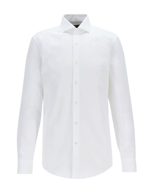 BOSS White Slim-fit Shirt In Micro-structured Italian Cotton for men