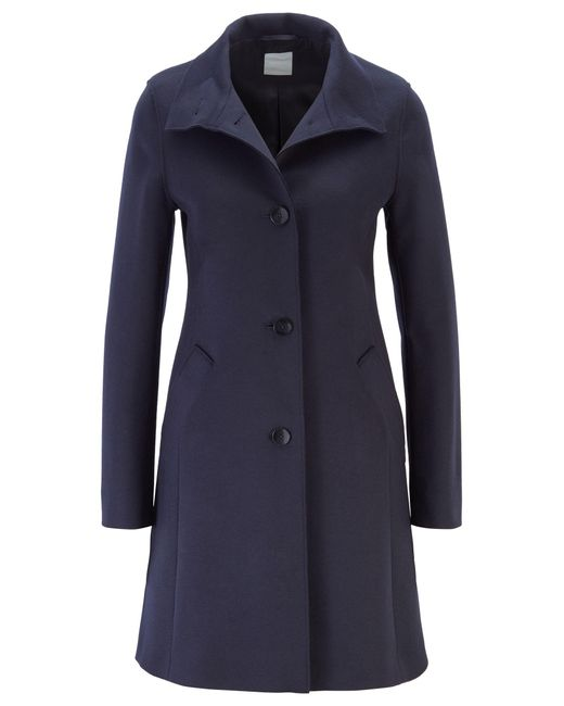 BOSS Blue Button-through Coat In A Wool Blend With Cashmere