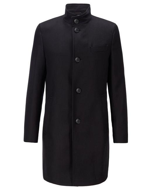 BOSS by Hugo Boss Black Slim-fit Coat In Water-repellent Cotton for men