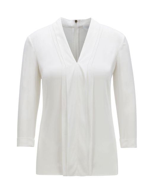 BOSS Natural V-neck Top In Silk Crepe With Stretch