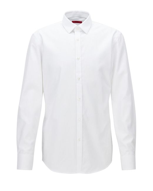 HUGO   White Slim-fit Shirt In Structured Cotton Poplin for Men   Lyst