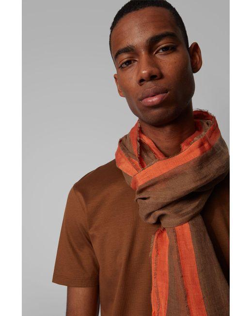 Sciarpa a righe in lino e seta con frange sull'orlo di BOSS by Hugo Boss in Brown da Uomo