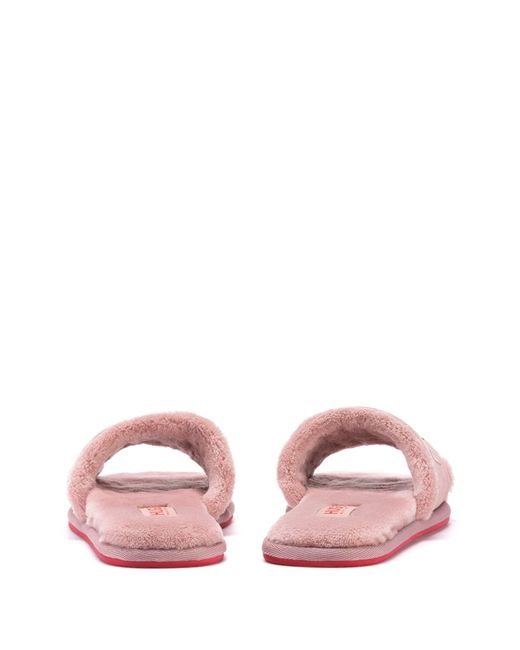 Mules à logo avec tige en cuir refendu HUGO en coloris Pink