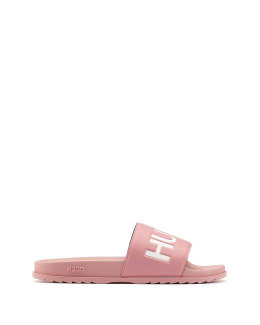 HUGO Pink Italian-made Slides With Contrast Logo for men