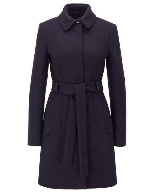 BOSS Blue Regular-fit Wool-blend Coat With Tie Belt