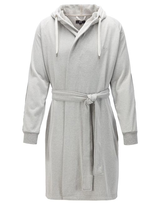 BOSS by Hugo Boss Gray Cotton-blend Hooded Bathrobe With Striped Sleeves