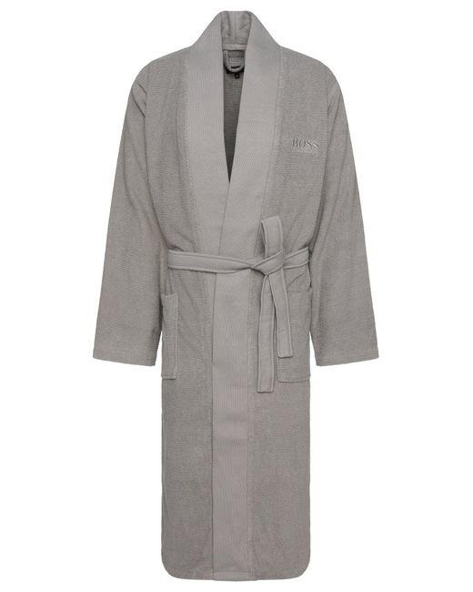 BOSS Gray Kimono-style Bathrobe In Combed Aegean Cotton