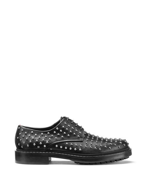 HUGO | Black Embellished Derby Shoes In Soft Leather for Men | Lyst