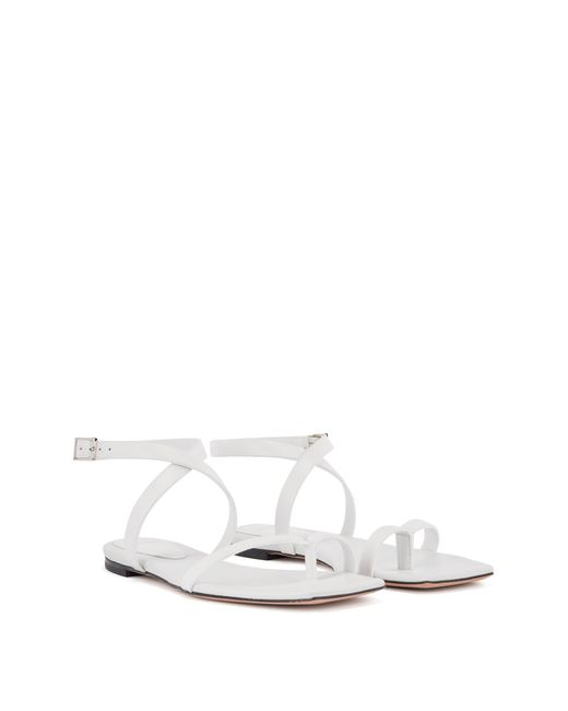 BOSS by Hugo Boss White Flat Strappy Sandals In Italian Leather With Squared Toe